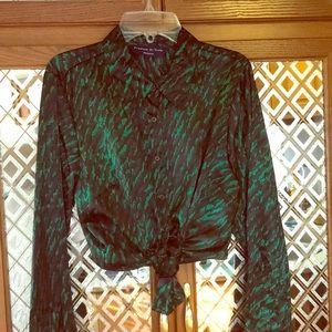 NWT GORGEOUS Green Camo Fashion Blouse!